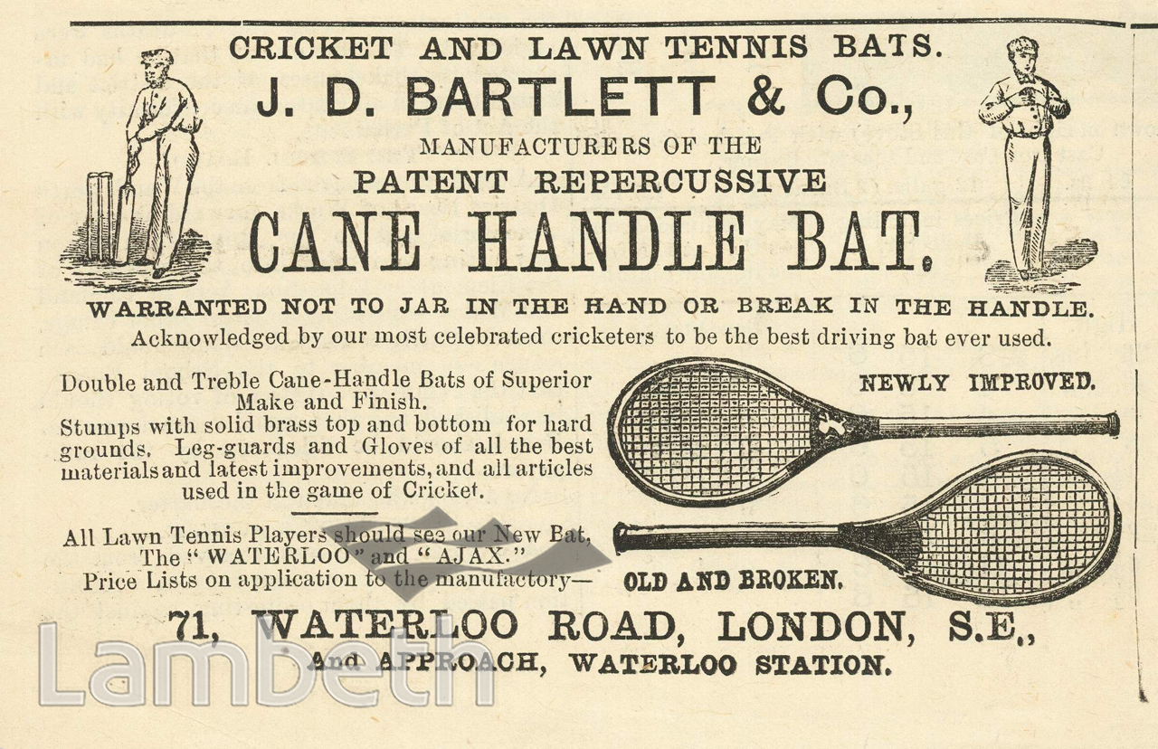 J D Bartlett Cricket Tennis Bat Maker Waterloo Road