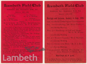 FLYER: LAMBETH FIELD CLUB, HAWKESTONE HALL, KENNINGTON ROAD