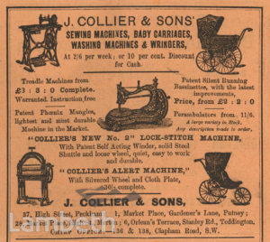 J COLLIER & SONS ADVERT, 136-138 CLAPHAM ROAD, STOCKWELL