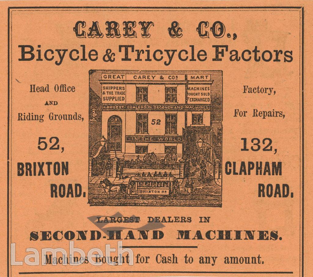 CAREY & CO ADVERT, 52 BRIXTON ROAD, BRIXTON NORTH