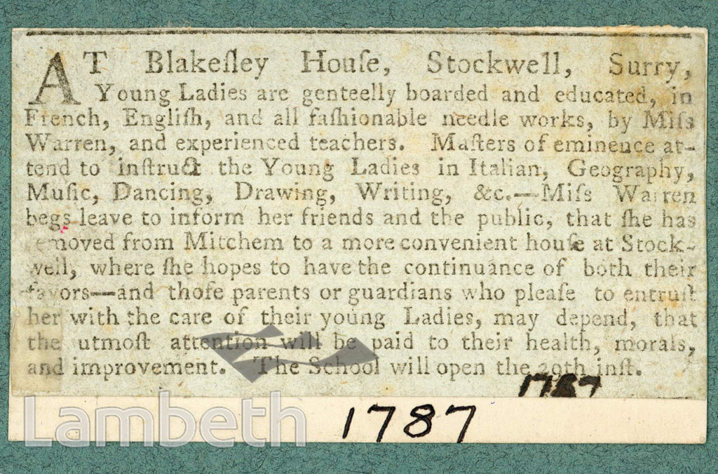 BLAKESLEY HOUSE SCHOOL FOR LADIES, STOCKWELL