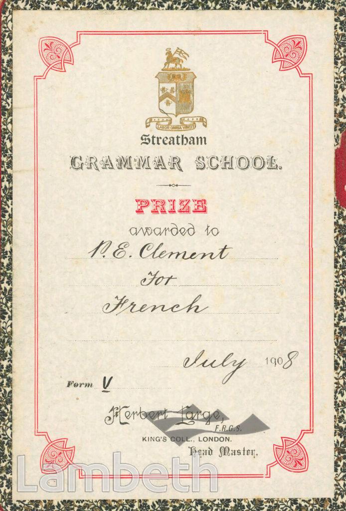 STREATHAM GRAMMAR SCHOOL PRIZE AWARD