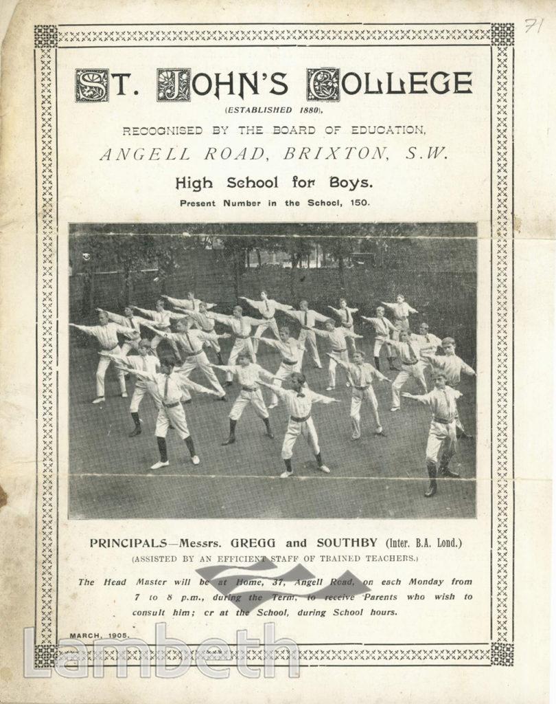 BROCHURE: ST JOHN'S COLLEGE, ANGELL ROAD, BRIXTON