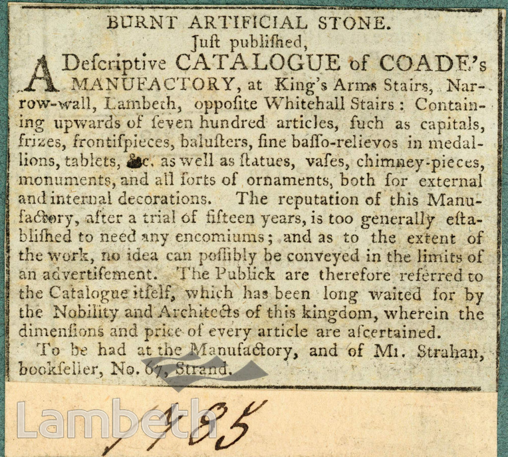COADE STONE CATALOGUE ADVERT, KING'S ARMS STAIRS, LAMBETH