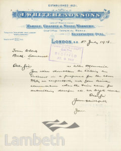 J.WHITEHEAD & SONS LETTER, IMPERIAL WORKS, KENNINGTON