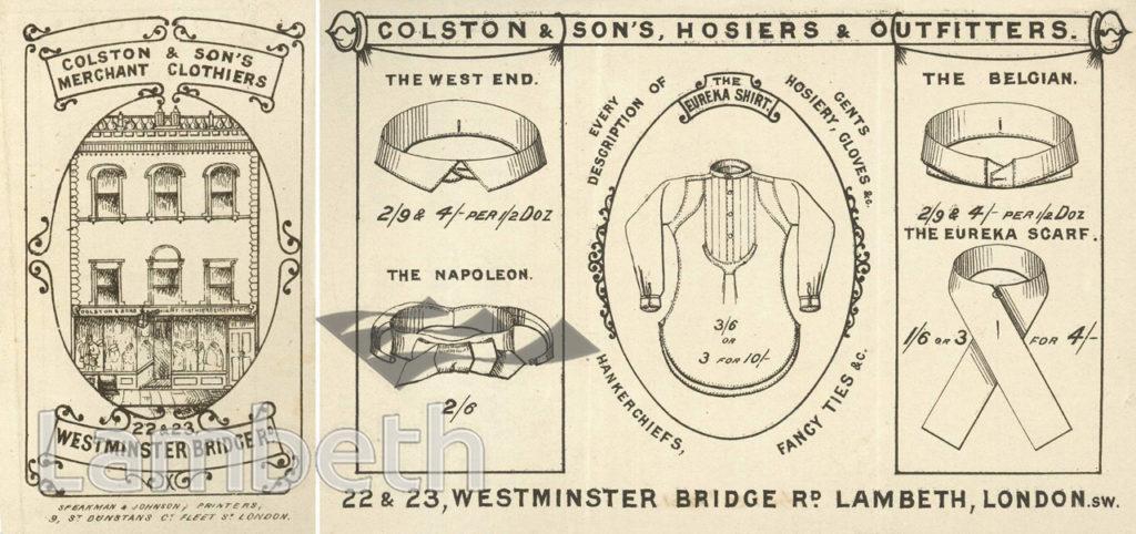 COLSTON & SONS, CLOTHIERS, 22 & 23 WESTMINSTER BRIDGE ROAD