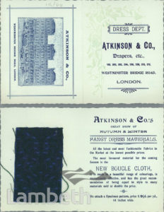 FABRIC SAMPLE, ATKINSON & CO, WESTMINSTER BRIDGE ROAD
