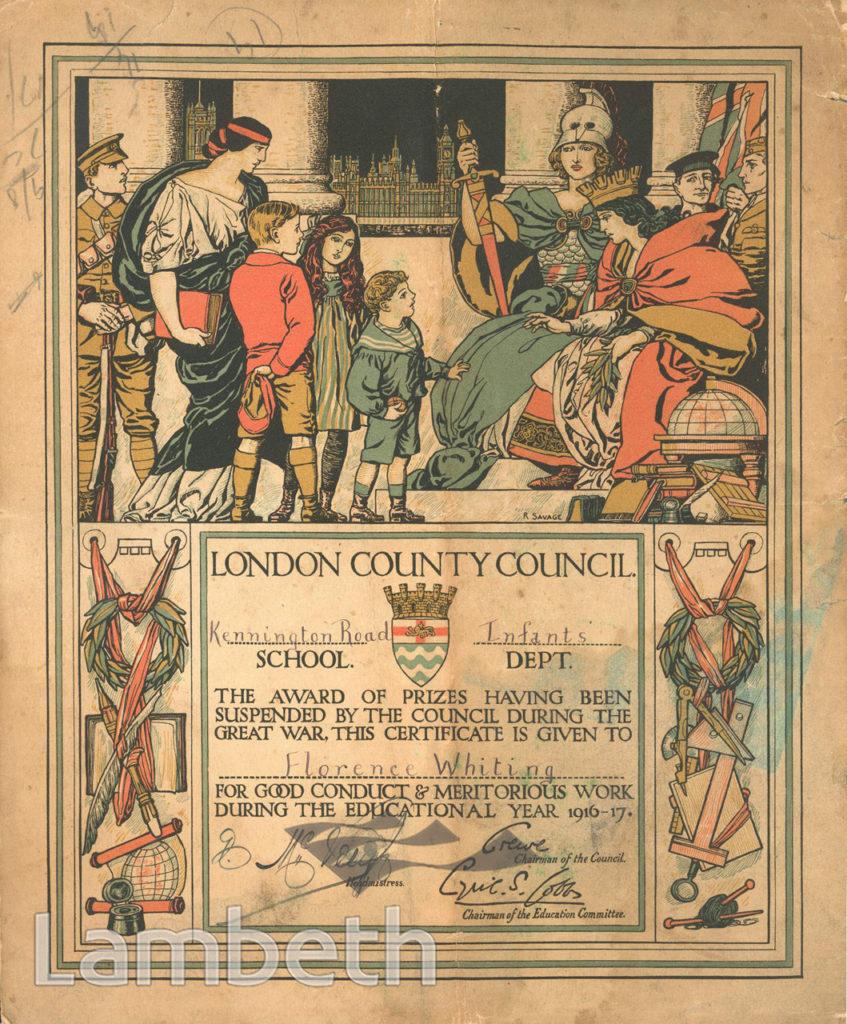 CERTIFICATE, WORLD WAR I, KENNINGTON ROAD SCHOOL