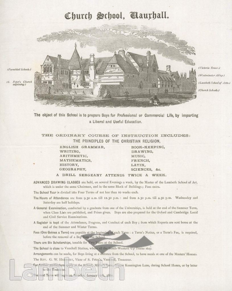CHURCH SCHOOL, MILLER'S LANE, VAUXHALL