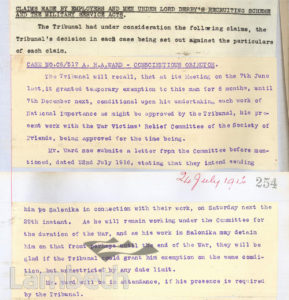 CONSCIENTIOUS OBJECTOR CONSCRIPTION EXEMPTION, WORLD WAR I