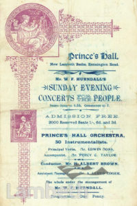 HURNDALL'S CONCERTS, PRINCE'S HALL, LAMBETH BATHS, LAMBETH