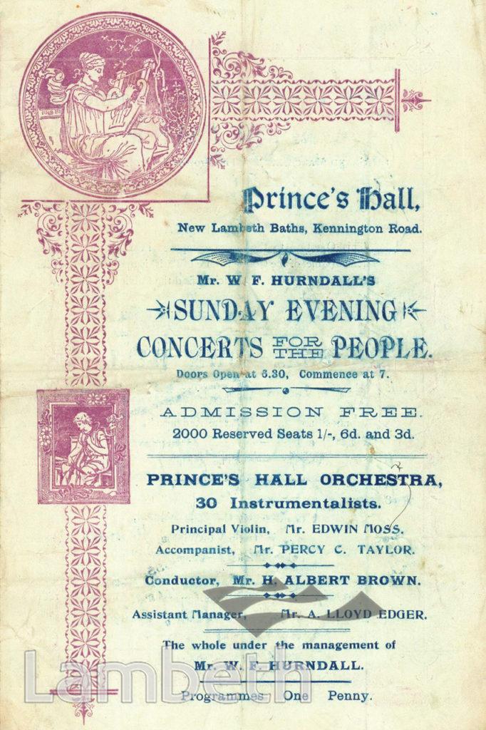 HURNDALL'S CONCERTS, PRINCE'S HALL, LAMBETH BATHS, LAMBETH