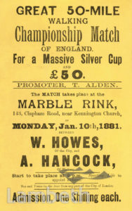 WALKING CHAMPIONSHIP, MARBLE RINK, CLAPHAM ROAD, STOCKWELL