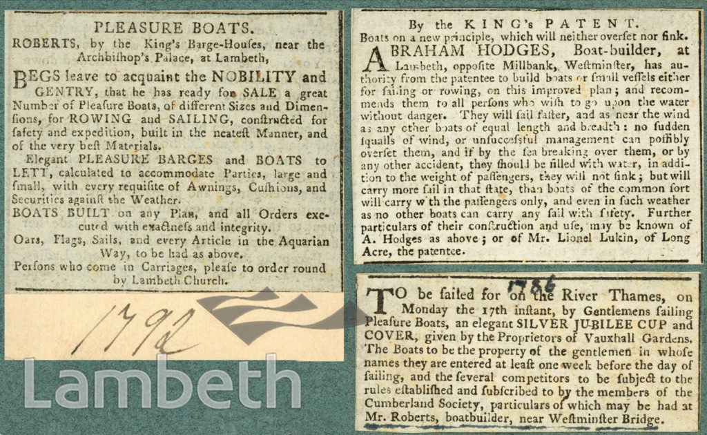 ADVERTS: LAMBETH BOATBUILDERS & SAILING CUP