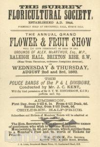 SURREY FLORICULTURAL SOCIETY SHOW, RALEIGH HALL, BRIXTON