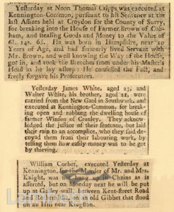 NEWSPAPER CUTTINGS: EXECUTIONS, KENNINGTON COMMON