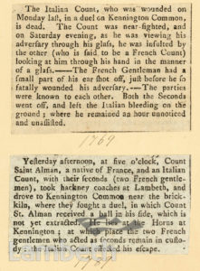 NEWSPAPER CUTTINGS: DUELS, KENNINGTON COMMON