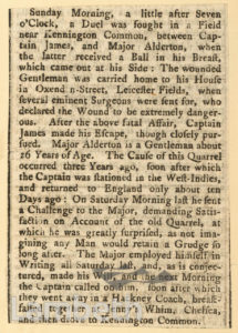 NEWSPAPER CUTTING: DUEL, KENNINGTON COMMON
