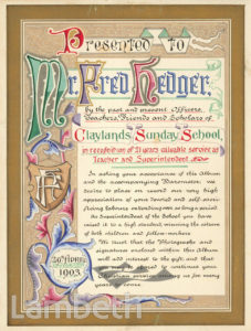 CERTIFICATE: CLAYLANDS SUNDAY SCHOOL, KENNINGTON