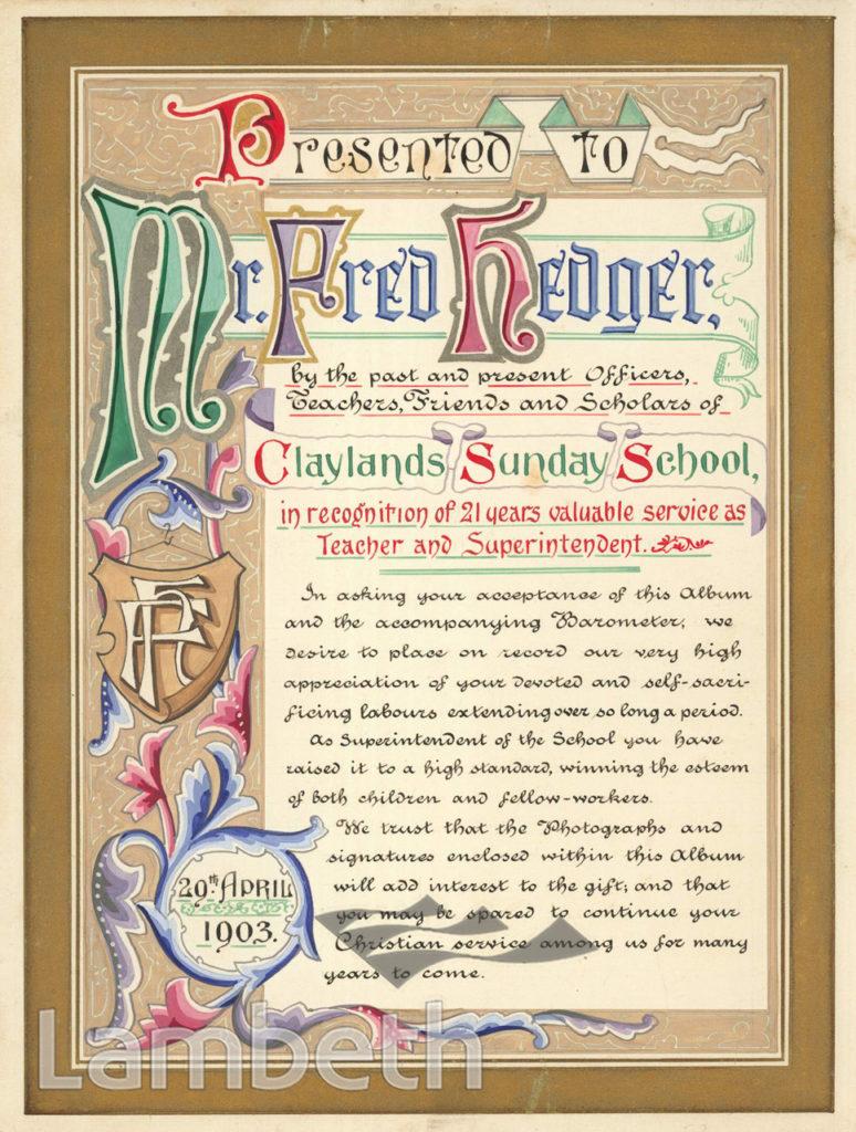 CERTIFICATE: CLAYLANDS SUNDAY SCHOOL, KENNINGTON