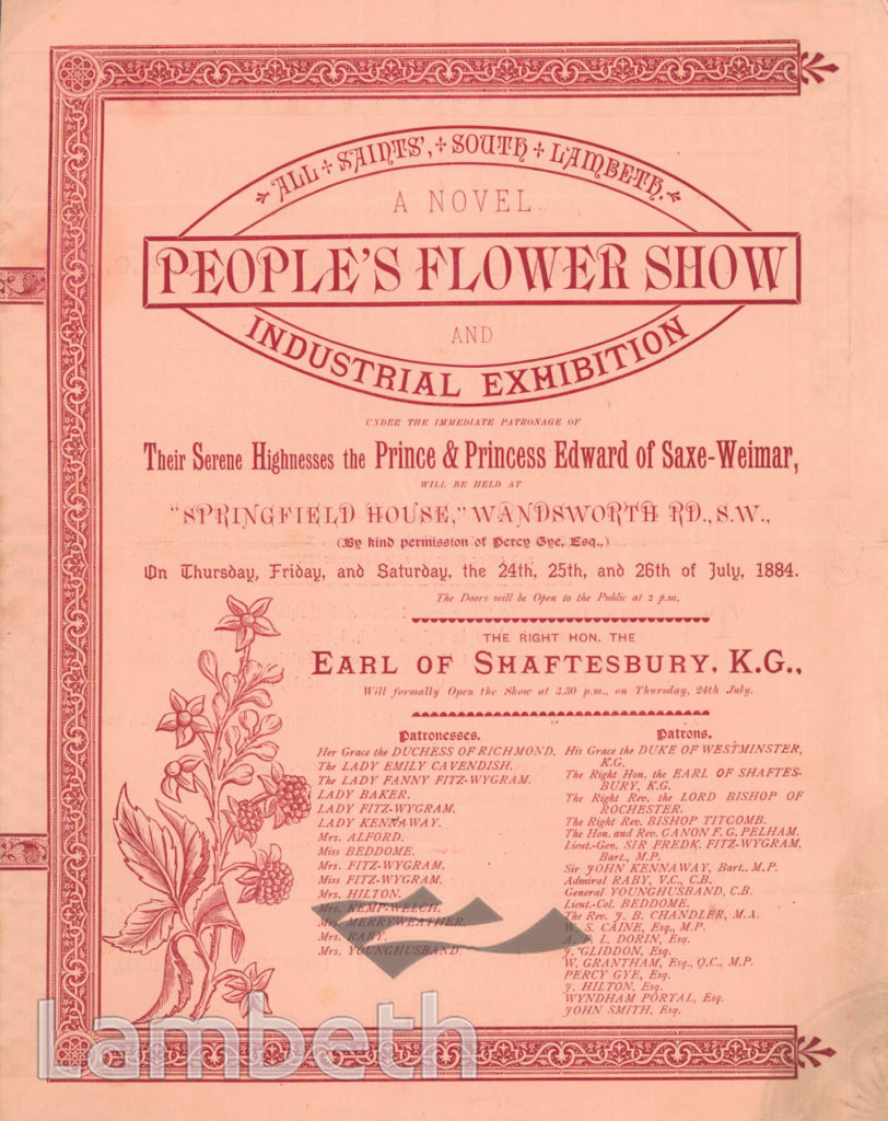 FLOWER SHOW, SPRINGFIELD HOUSE, WANDSWORTH ROAD