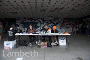PETITION DESK, SKATEBOARD PARK, SOUTHBANK
