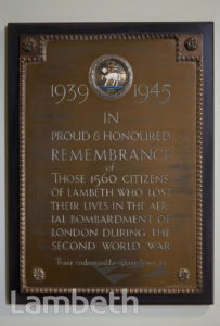 WORLD WAR II CIVILIAN MEMORIAL, LAMBETH TOWN HALL, BRIXTON