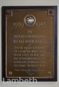 WORLD WAR II CIVILIAN MEMORIAL, LAMBETH TOWN HALL, BRIXTON
