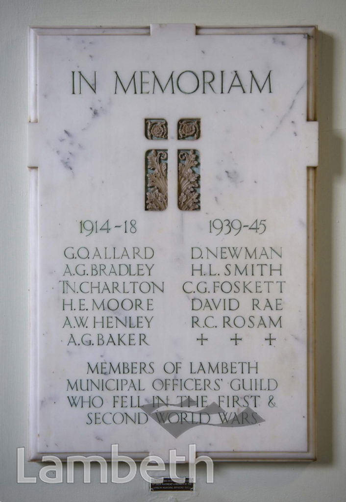 MUNICIPAL OFFICERS' GUILD MEMORIAL, LAMBETH TOWN HALL,