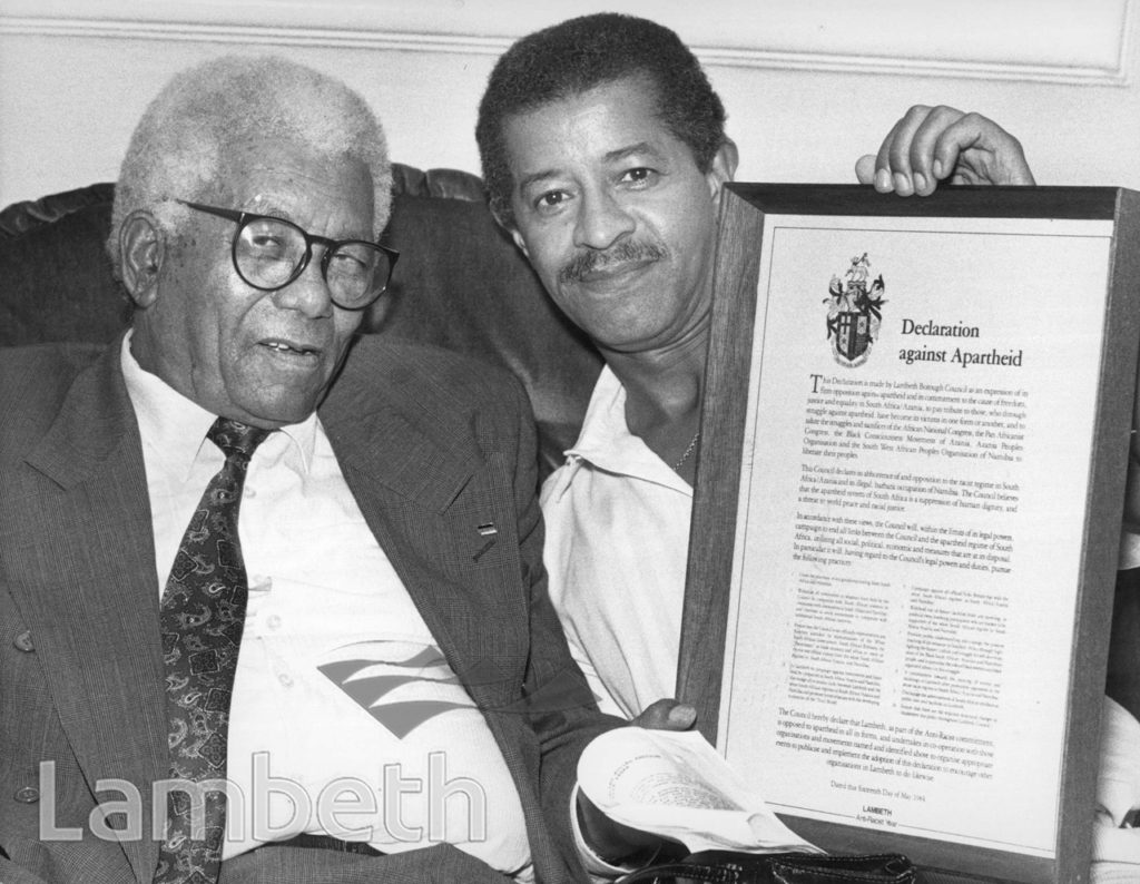 WALTER SISULU WITH ANTI-APARTHEID DECLARATION