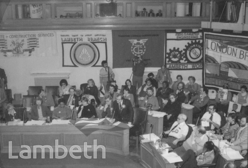 RATE-CAPPING MEETING, LAMBETH TOWN HALL, BRIXTON