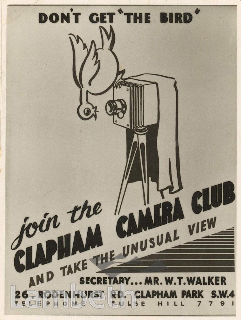 CLAPHAM CAMERA CLUB, 26 RODENHURST ROAD, CLAPHAM PARK