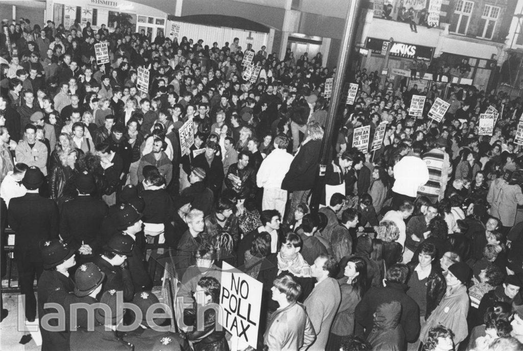 ANTI-POLL TAX PROTESTS, LAMBETH TOWN HALL, BRIXTON