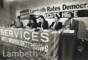 RATES CAPPING MEETING, LAMBETH TOWN HALL, BRIXTON