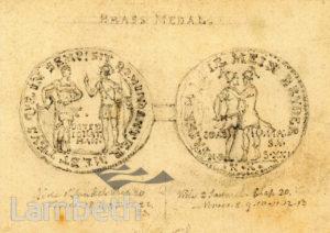 MEDAL & COINS FROM CLAPHAM CHURCHYARD, RECTORY GROVE