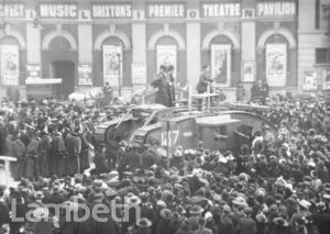GEORGE ROBEY SPEAKING FROM WWI TANK, BRIXTON