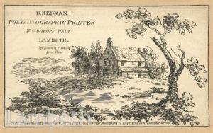 ADVERT: D. REDMAN, PRINTER, BISHOP'S WALK, LAMBETH
