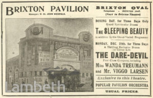 ADVERT: BRIXTON PAVILION, BRIXTON OVAL