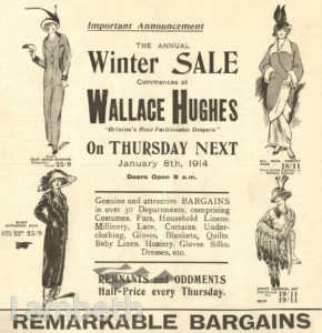 ADVERT: WINTER SALE, WALLACE HUGHES, BRIXTON