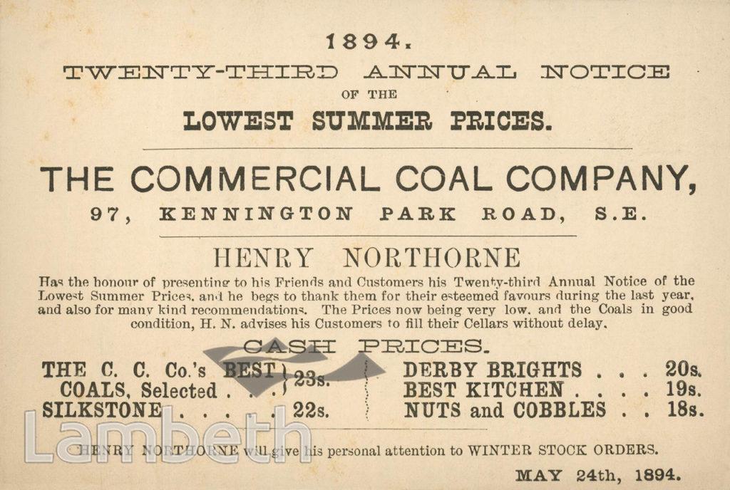 COAL PRICES, COMMERCIAL COAL CO., KENNINGTON PARK ROAD