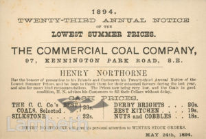 COAL PRICES, COMMERCIAL COAL CO., KENNINGTON PARK ROAD