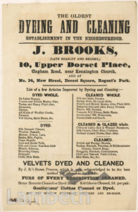 J BROOKS, DYER, 10 UPPER DORSET PLACE, KENNINGTON