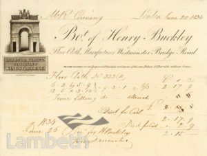 HENRY BUCKLEY, FLOOR CLOTH MANUFACTURER, LAMBETH