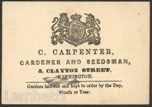 C. CARPENTER, GARDENER, 5 CLAYTON STREET, KENNINGTON