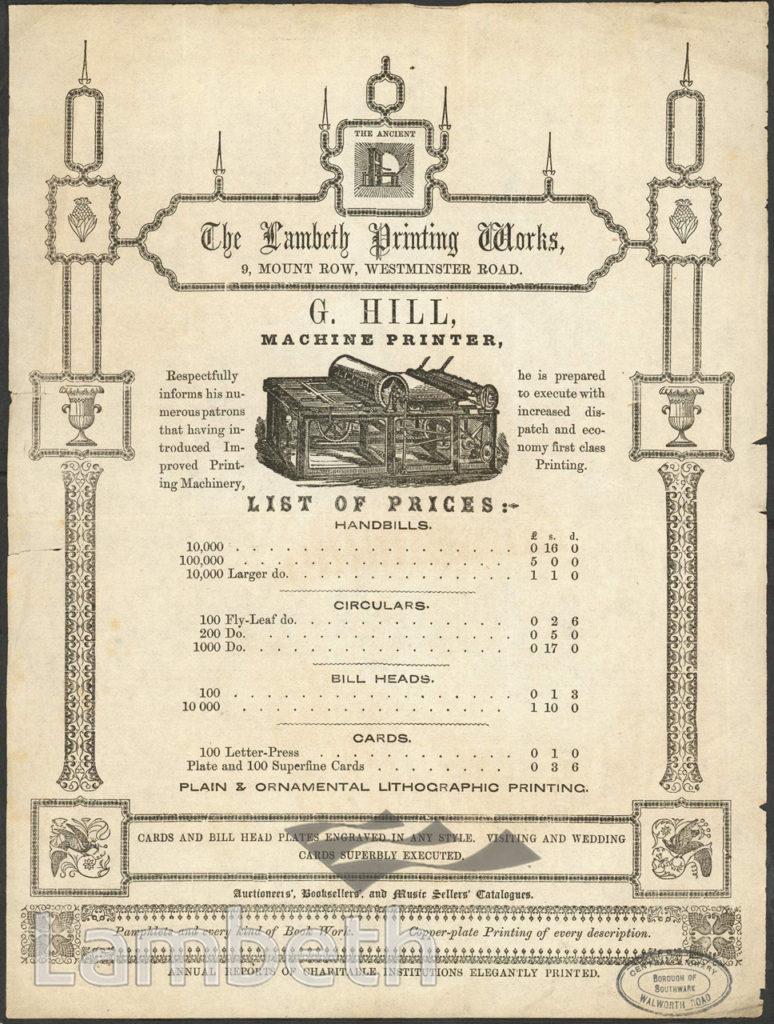 G. HILL'S LAMBETH PRINTING WORKS, 9 MOUNT ROW, LAMBETH