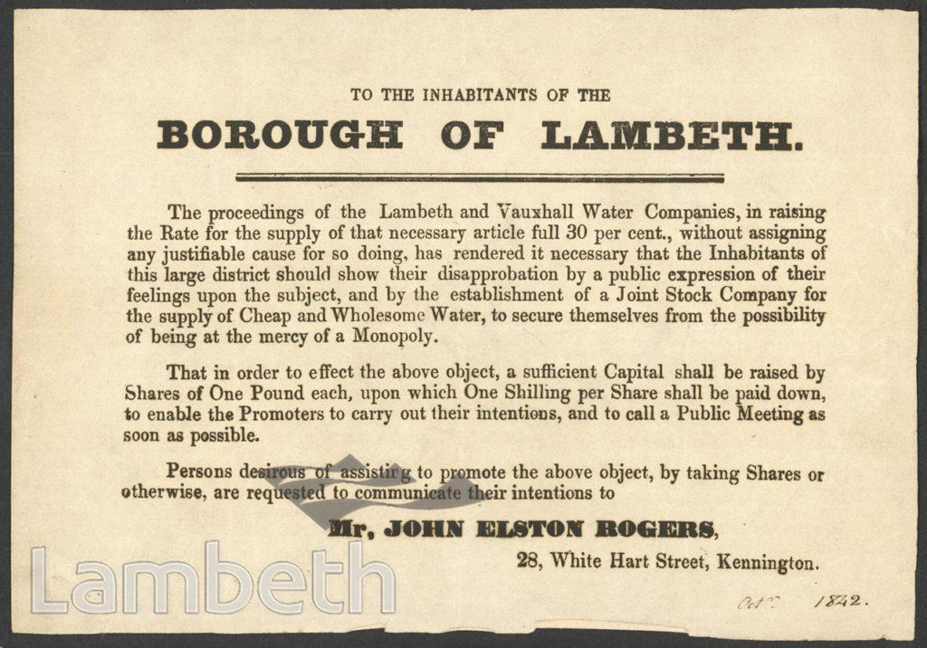 JOHN ROGERS' WATER SUPPLY FUNDRAISING LEAFLET, LAMBETH