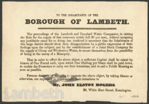 JOHN ROGERS' WATER SUPPLY FUNDRAISING LEAFLET, LAMBETH