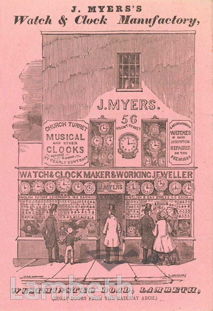 J MYERS, WATCHMAKER, 56 MOUNT STREET, LAMBETH