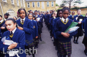 ASSEMBLY, LA RETRAITE SCHOOL, ATKINS ROAD, CLAPHAM PARK