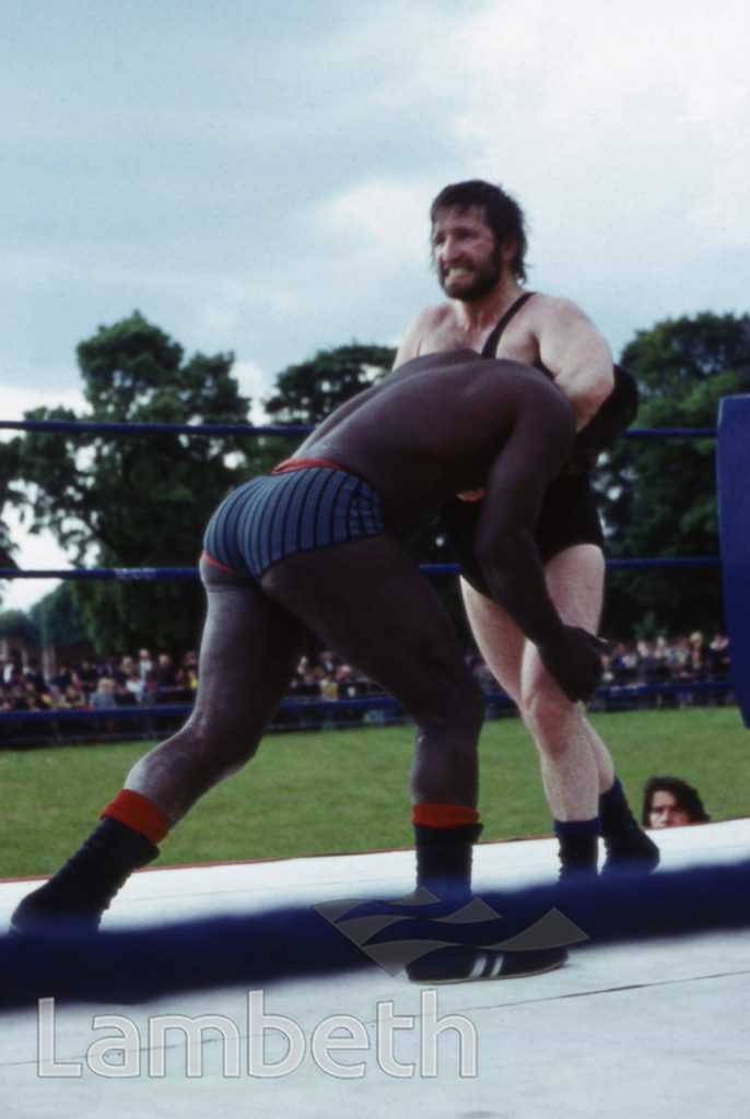 WRESTLERS, FESTIVAL OF SPORTS, BROCKWELL PARK, HERNE HILL